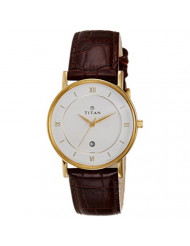 Titan Workwear Men's Contemporary Watch - Quartz, Water Resistant, Leather Strap - Brown Band and White Dial