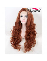 K'ryssma Fashionable #350 Copper Red Lace Front Wigs for Women Long Wavy Glueless Synthetic Wig Heat Resistant Half Hand Tied Replacement Full Hair Wig 22 Inch