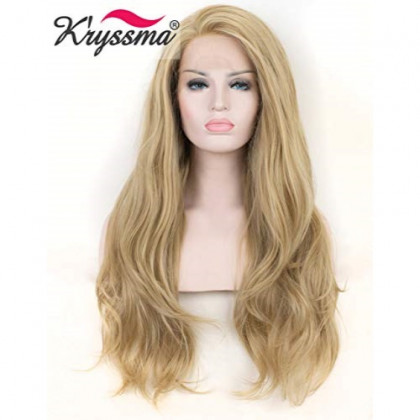 K'ryssma Natural Looking Ash Blonde Glueless Lace Front Wig Long Wavy Half Hand Tied Replacement Synthetic Hair Full Wigs Heat Resistant For Women 22 Inches