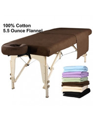 Master Massage Table Flannel Sheet Set 3 in 1 Table Cover, Face Cushion Cover, Table Sheet, Chocolate
