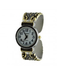 Women's Vintage Style Easy Read Bangle Cuff Watch-Two Tone