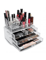 Sorbus Acrylic Cosmetic Makeup and Jewelry Storage Case Display - Great for Lipsticks, Liners, Nail Polishes, Brushes, and Much More-Bathroom Space Saving, Stylish Acrylic Case