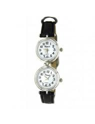 Women's Classic Easy to Read Silver-Tone Dual Time Black Leather Watch