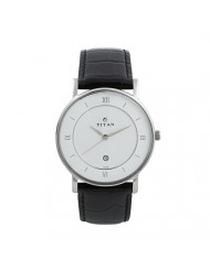 Titan Workwear Men's Contemporary Watch - Quartz, Water Resistant, Leather Strap - Black Band and White Dial