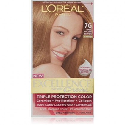 L'Oreal Paris Excellence Creme Haircolor, Dark Golden Blonde [7G] (Warmer) 1 ea (Pack of 2)