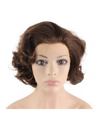 Mxangel Heat Resistant Synthetic Lace Front Natural Short Curly Wig Brown