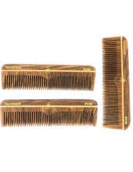 """GBS Professional Grooming Comb - 5"""" Unbreakable Wood Coarse/Fine Pocket Comb - 3 pack"""