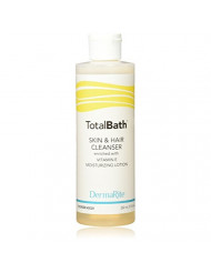 TotalBath Skin and Hair Cleanser - 7.5 Oz - Full Body Shampoo and Body Wash Moisturizing Lotion - Enriched with Vitamin E - Ideal for Sensitive Skin, Rinse Free
