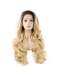 Mxangel Long Wavy Dark Root Ombre Blonde Half Hand Tied Heat Resistant Fiber Fashion Ombre Blond Synthetic Hair Lace Front Wig Natural