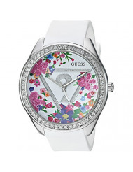 GUESS Women's U0904L1 Trendy Silver-Tone Watch with  White Dial  and Silicone Band