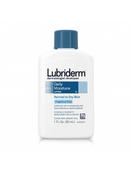 Lubriderm Daily Moisture Hydrating Unscented Body Lotion with Vitamin B5 for Normal to Dry Skin, Non-Greasy and Fragrance-Free Lotion. 1 fl. oz