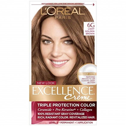 L'Oreal Paris Excellence Creme Triple Protection Hair Color -Light Golden Brown [6G] Pack of 7