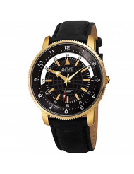August Steiner Genuine Leather Men's Watch - Soft and Rugged Black Nubuck Leather Strap, Printed Globe Dial with 24 Hour Markers - AS8213YGB