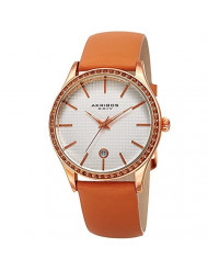 Akribos XXIV Sparkling Crystals Women's Watch - Grooved Sparkling Bezel - On a Genuine Orange Leather Strap - AK964