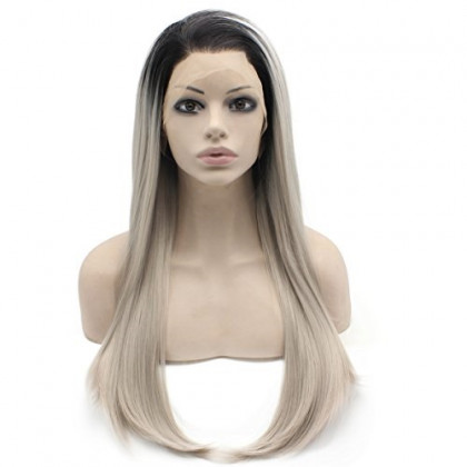 Mxangel 24inch Long Heat Resistant Fibre Hair Black Root Gray Blonde Synthetic Front Lace Wig