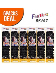 """FreeTress Synthetic Hair Crochet Braids 2X Soft Faux Loc Curly 12"""" (6-Pack, 1B)"""