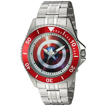 MARVEL Men's Captain America Analog-Quartz Watch with Stainless-Steel Strap, Silver, 22 (Model: WMA000008)