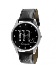 Crystal Studded Zodiac Horoscope Watch with Black Leather Strap