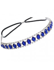 Elastic Headband with Oval and Rectangle Gems and Sparkling Crystal Accents | Blue/Sapphire