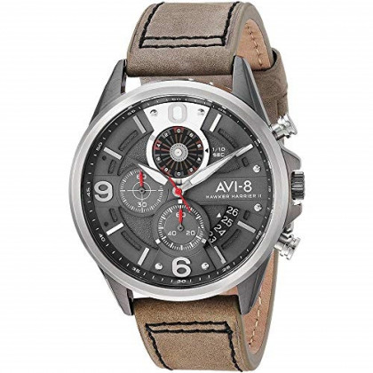AVI-8 Men's Hawker Harrier II Stainless Steel Japanese-Quartz Aviator Watch with Leather Strap, Grey, 21.7 (Model: AV-4051-03)