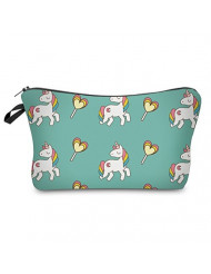 StylesILove Unique Unicorn Collection Pouch Travel Case Cosmetic Makeup Bag (Green)