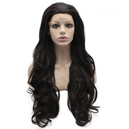 Mxangel Long Wavy Dark Brown Heat Friendly Synthetic Lace Front Wig Natural
