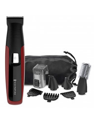 REMINGTON PG6155C All-In-One + Body Multigroomer (10 Pieces), Full Size Trimmer, Black/Red
