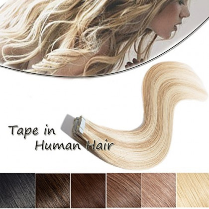 Tape In Human Hair Extensions Highlighted Two-tone 22 inch Ash Blonde Mixed Bleach Blonde 20pcs 50g Invisible Double Sided Tape Long Straight Remy Hair + 10pcs Free Tapes (22'' #18&613)