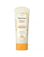 Aveeno Protect + Hydrate Moisturizing Sunscreen Lotion with Broad Spectrum SPF 70 & Antioxidant Oat, Oil-Free, Sweat- & Water-Resistant Sun Protection, 7 oz