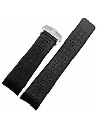 Men's Military Strong Rubber Watch Band Soft Silicone Replacement Watch Strap with Stainless Steel Butterfly Buckle Universal Strap Waterproof Sport Black (24mm)