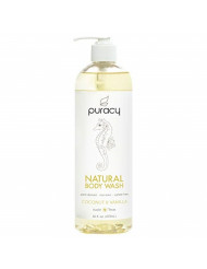 Puracy Natural Body Wash, Sulfate-Free Bath and Shower Gel, Coconut & Vanilla, 16 Ounce