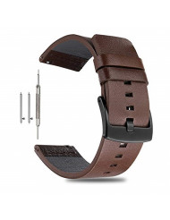 ViuiDueTure Leather Watch Straps Quick Release Watch Band - Genuine Leather Replacement Wrist Strap for Men Women - Choice of Width - 18mm, 20mm, 22mm or 24mm (24MM, Brown/Black Buckle)