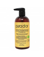 PURA D'OR MD Anti-Hair Thinning Shampoo w/ 0.5% Coal Tar, Biotin & 19+ Herbal Blend Shampoo for Thinning Hair and Healthier Scalp - Sulfate Free, Men & Women, 16 Fl Oz (Packaging May Vary)
