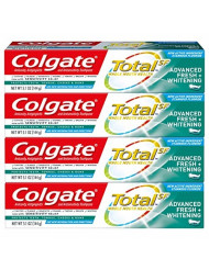 Colgate Total Whitening Toothpaste, Advanced Fresh + Whitening  Gel, 5.1 Ounce (Pack of 4)