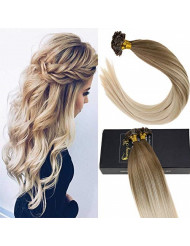 Sunny Balayage Human Hair Extensions Golden Blonde Mixed Platinum Blonde Falt Tip Fusion Hair Extensions Remy Hair(16inch 1g/s 50g/pack)