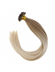 Sunny Balayage Human Hair Extensions Golden Blonde Mixed Platinum Blonde Falt Tip Fusion Hair Extensions Remy Hair(22inch 1g/s 50g/pack)