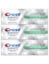 Crest 3D White Brilliance Blast Whitening Toothpaste, Energizing Mint, 3 Count