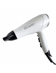 SalonPro 1875 Watt Fast Drying Professional Hair Dryer Ceramic Ionic Stylist Salon Blower Powerful & Lightweight DC Motor with Concentrator Nozzle Cold Shot Blast Glossy White