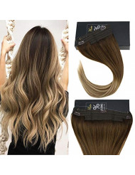 Sunny 20Inch Invisible Hair Extensions Halo Hair Human Hair Ombre Dark Brown Fading to Medium Browm with Blonde Fish Line Wire Human Hair Extension 100g