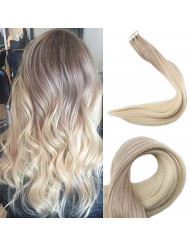 Full Shine 14 Inch Ombre Balayage Tape In Hair Extensions Human Hair Color 18 Ash Blonde Fading To 60 Platinum Blonde Remy Straight Hair 20 Pieces 50 Gram