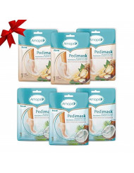 Amope Pedimask 20 Minute Foot Mask (Coconut+Macadamia, Pack of 6)