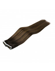 Sunny Brown Balayage Hair Extensions Tape on Hair Color #2 Dark Brown Fading to #6 Medium Brown Mix #2 Brown Human Hair Tape in Hair Extensions 22inch 20pcs/50g