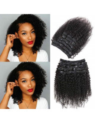 Urbeauty Kinkys curly clip in hair Extensions for Black Women Human Hair Triple Weft 18 inch 3C/4A African American Curly Clip in Human Hair Extensions (#1B Natural Black,10Pcs/100g)