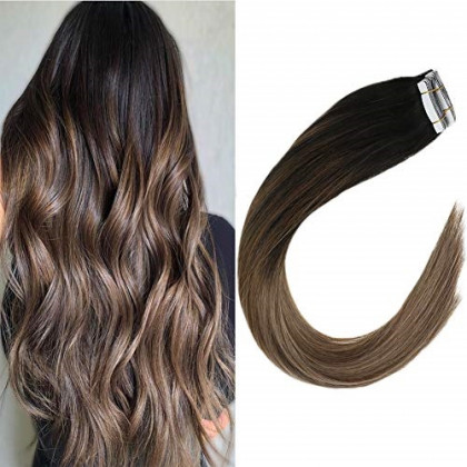 VeSunny Tape in Hair Extensions Ombre Adhesive Color 1B Off Black Fading to 18 Ash Blonde Highlighted with Brown Seamless Brazilian Glue in Hair Extensions 20inch 20 pcs 50g