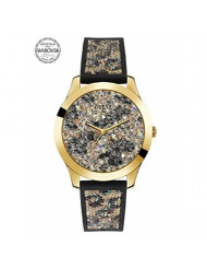 Women's Black Animal Print Silicone Watch Embellished with Crystals from Swarovski 42 MM