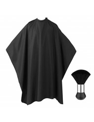 """Frcolor Professional Barber Cape with Snap Closure, Hair Cutting Salon Cape Hairdressing Apron Black, Neck Duster Brush Included - 55"""" x 63"""""""