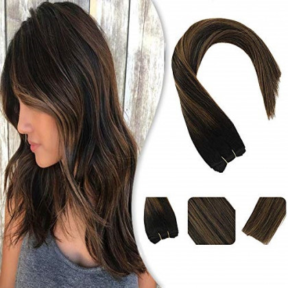 YoungSee 18inch Weft Human Hair Extensions Natural Black Mixed Medium Brown Dip Dyed Sew in Bundles One Piece Human Hair Weft 100G/Set