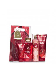 Bath and Body Work WINTER CANDY APPLE Holiday Traditions Gift Set - Body Cream - Fine Fragrance Mist - Shower Gel & a travel-sized Ultra Shea Body Cream