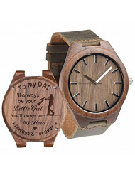 Engraved Wooden Watches for Dad from Daughter Personalized Birthday Anniversary Wood Watch for Father Man Walnut Brown