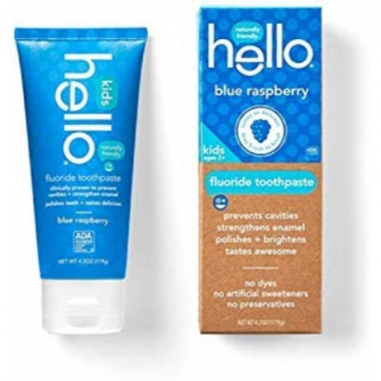 Hello Oral Care Kids Fluoride Toothpaste (2 Count, Blue Raspberry)